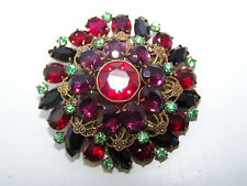 Vintage Red, Black, Violet, and Light Green Rhinestone Brooch with Filigree -514