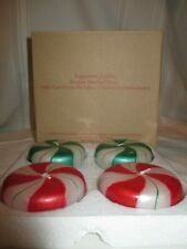 New Avon Peppermint Striped Christmas Candles Red / Green & White Vintage Boxed