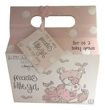 2 x Precious Little Girl Bodysuits Clothes Gift With Gift Bag Baby Shower Gift