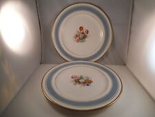 Vintage Johnson Bros England Pareek Pair of Dinner Plates Plate Blue Rim Flowers