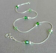 ANKLET 925 Sterling Silver Green Crystal  Ankle Bracelet dainty