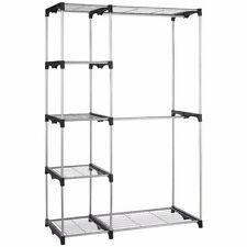 Silver Portable Closet Organizer Storage Clothes Hanger Garment Shelf Rail Rack