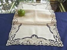 Antique Italian Linen Centerpiece Runner Richelieu Cutwork Punto Tirato Lace