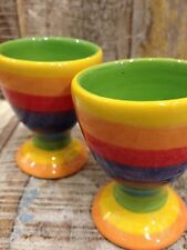 FAIR TRADE ETHICALLY SOURCED RAINBOW STRIPE CERAMIC SET OF 2 EGG CUPS
