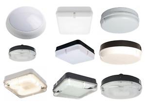 16W & 28W 2D CFL Bulkhead Light Various Round Square Black White Opal Prismatic
