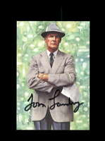 Tom Landry JSA Coa Signed Goal Line Art Card Dallas Cowboys Autograph
