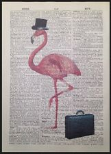 Vintage Pink Flamingo Original Dictionary Print Page Wall Art Picture Top Hat