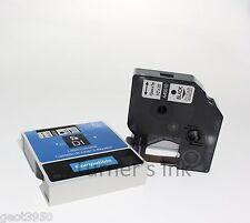 "DYMO D1 12mm x7m 45010 COMPATIBLE TAPE BLACK CLEAR TRANSPARENT ½"" x 23' STANDARD"