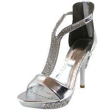 New women's shoes stilettos rhinestones back zipper open toe wedding prom silver
