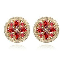 18K Gold Plated Made With Swarovski Crystal Daisy Flower Round Stud Earrings