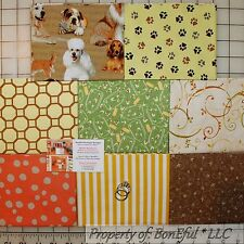 BonEful Fabric COTTON QUILT LOT Dog Breed US Paw Print Natural Color Brown Green