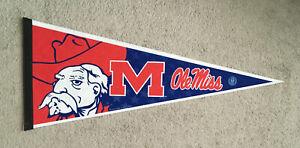 Vintage University Of Mississippi Ole Miss Rebels Colonel Reb Felt Pennant
