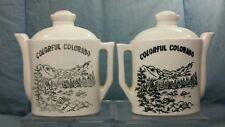"Vintage Tea / Coffee Pots Souvenir Salt & Pepper Shakers approx 4"" x 4"" Colorado"