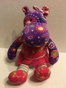 "Mary Meyer Purple Flower Hippo 14"" Plush Stuffed Animal"