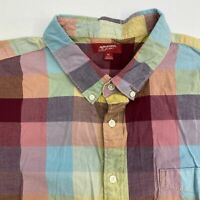 Arizona Button Up Shirt Men's Size 2XL Short Sleeve Red Blue Yellow Plaid Cotton