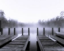 8x10 Fine Art Print Digital Photography Architectural Black and White Boat House