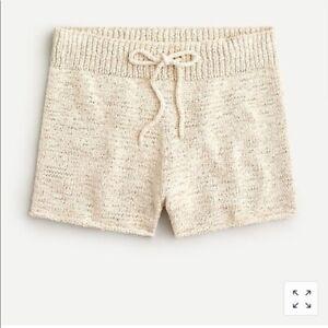 NWT J Crew Drawstring Sweater Shorts Ivory Sz S