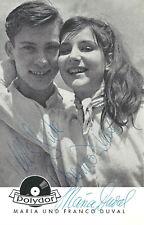 MARIA & FRANCO DUVAL original Autogramm signierte Polydor Postkarte 60er Jahre