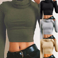 Fashion Women Casual Long Sleeve Blouse Ladies High Collar Crop Tops T-Shirt New