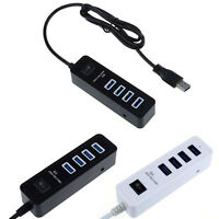 4 Ports USB 3.0 HUB With On/Off Switch Adapter Long Cable Hub For Laptop Desktop