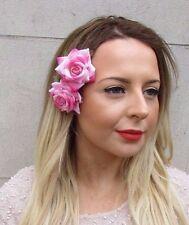 2x Light Pink Rose Flower Hair Clips Fascinator Bridesmaid 1950s Rockabilly 2748