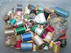 Vintage Threads Sewing Lot Wooden Spools
