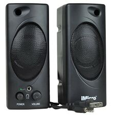 iMicro SP-IMD693B 2-piece 3.5mm Computer Speakers with Headphone Jack Black NEW