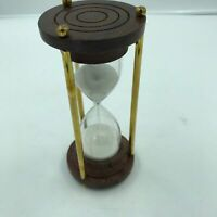 Nautical Sand Timer Wood Base, Brass Rods Sand Timer, Hour Glass, Antique 7""