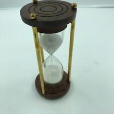 """Nautical Sand Timer Wood Base, Brass Rods Sand Timer, Hour Glass, Antique 7"""""""