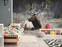 3D Forest Elk Antlers D1079 Animal Wallpaper Mural Self-adhesive Removable Honey