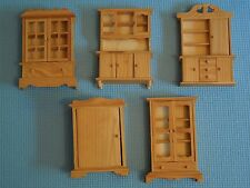 EHI Unfinished Doll House Furniture Miniature Lot of 5 Wood Cabinet Hutch Curio
