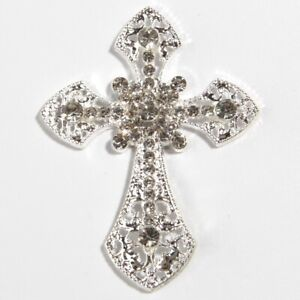 50PCS 55*71MM Crystal Pearl Metal Rhinestone Buttons Embellishment Cross Crosses