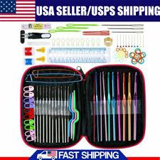 100Pcs Ergonomic Crochet Hooks Set Knitting Needle Kit Zipper Organizer w/ Case
