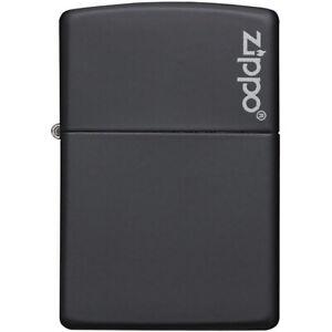 Zippo Logo Matte Pocket Lighter - Black