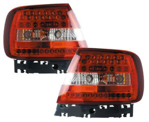 Back Rear Tail Lights Lamps Red-Clear LED Pair For Audi A4 B5 11/94-9/00