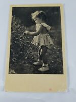 Vintage Collectible Real Photo Post Card Girl Picking Flowers Divided Back 1956