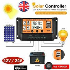 10-100A LCD de panel solar Regulador Controlador de carga de batería doble USB herramienta 12/24V