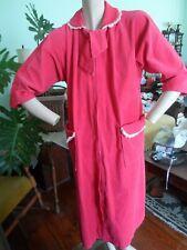 Saybury Corduroy Robe Hot Pink crochet zip front pockets L/Xl 50's Vtg womens