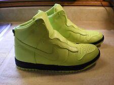 EUC NIKE Lab x Sacai DUNK LUX women's sz 8 shoes hi sneakers volt yellow FR/SHP