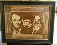 Tony Jacklin wood marquetry art Davis Love and Darren Clark , The Ryder Cup 2016