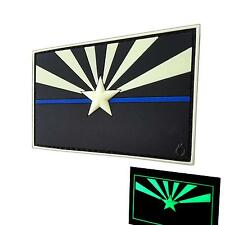 arizona state flag thin blue line PVC rubber glow parche touch fastener patch