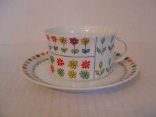 VINTAGE 1960'S ROSENTHAL EMILIO PUCCI PIEMONTE CUP AND SAUCER FLORAL DESIGN