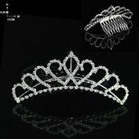 Wedding Bridal Comb Tiara Rhinestone Crystal Crown Princess Hair Headband New