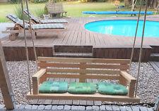Gartenbank/Hollywoodschaukel/Gartenschaukel/Hängebank aus Lärchen Holz mit Seil