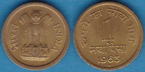 India 1963 1 Naya Paisa KM-8a Nickel Brass Mumbai Mint Choice UNC #7 - US Seller