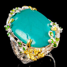 Handmade Natural Turquoise 925 Sterling Silver Ring Size 7.75/R107699