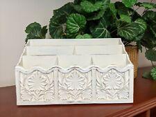 Lerner Faux Carved Wood Desk Top Letter Mail File Holder Organizer Painted White
