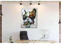 French Bulldog Smoking Abstract Canvas Wall Art Print - Various Sizes