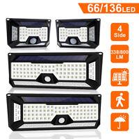4x 66/136 LED 4 Lati Luci Solari Pir Motion Sensore Muro Sicurezza Esterni Luce