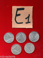 lotto 10 lire repubblica italiana italy 5 monete coins 1955 1979 1980 1981 1982